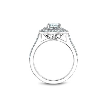 Square Shaped Double Halo Engagement Ring