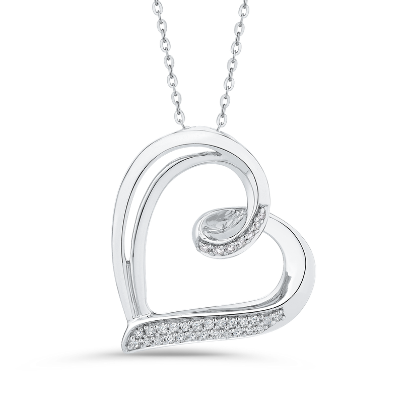 Essentials 10K White Gold 1/10 Ct Diamond Heart Pendant with Chain
