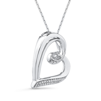 10K White Gold 1/10 Ct Diamond Heart Pendant with Chain