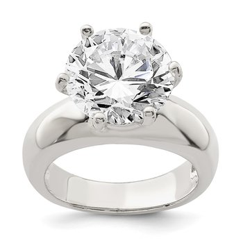Sterling Silver Solitaire Round CZ Ring