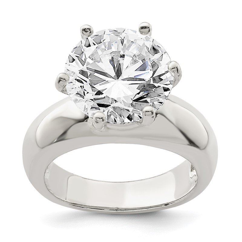 Quality Gold Sterling Silver Solitaire Round CZ Ring