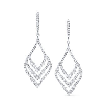 Diamond Leaf Shape Mosaic Earrings in 14 Kt. Gold