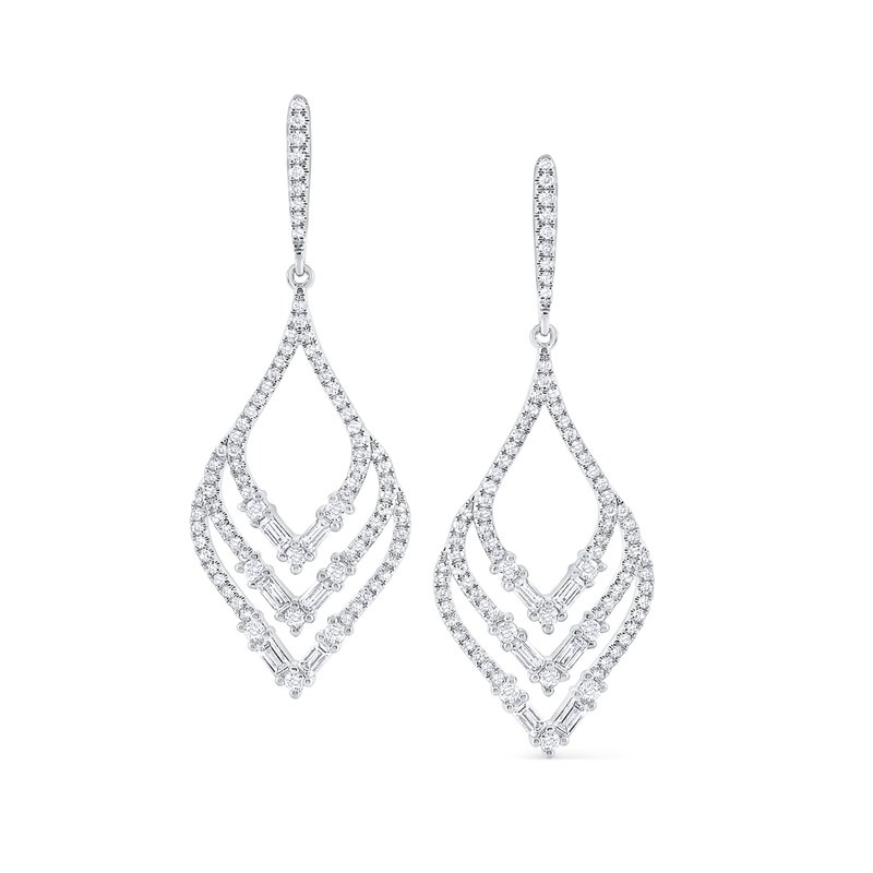 MAZZARESE Fashion Diamond Leaf Shape Mosaic Earrings in 14 Kt. Gold