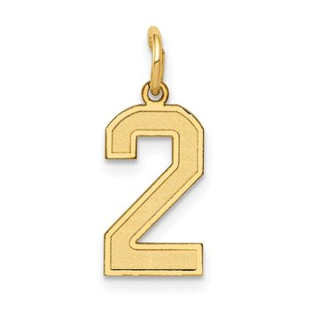 14k Small Satin Number 2 Charm