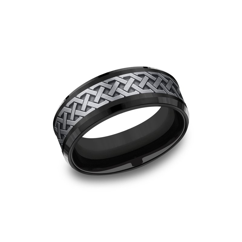 Tantalum Grey  and Black Titanium two-tone Comfort-fit wedding band