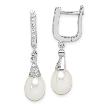 Sterling Silver Rhodium-plated 7-8mm White Rice FWC Pearl CZ Earrings