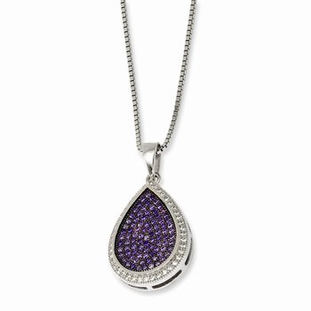 SS Rhodium-Plated CZ Brilliant Embers Necklace