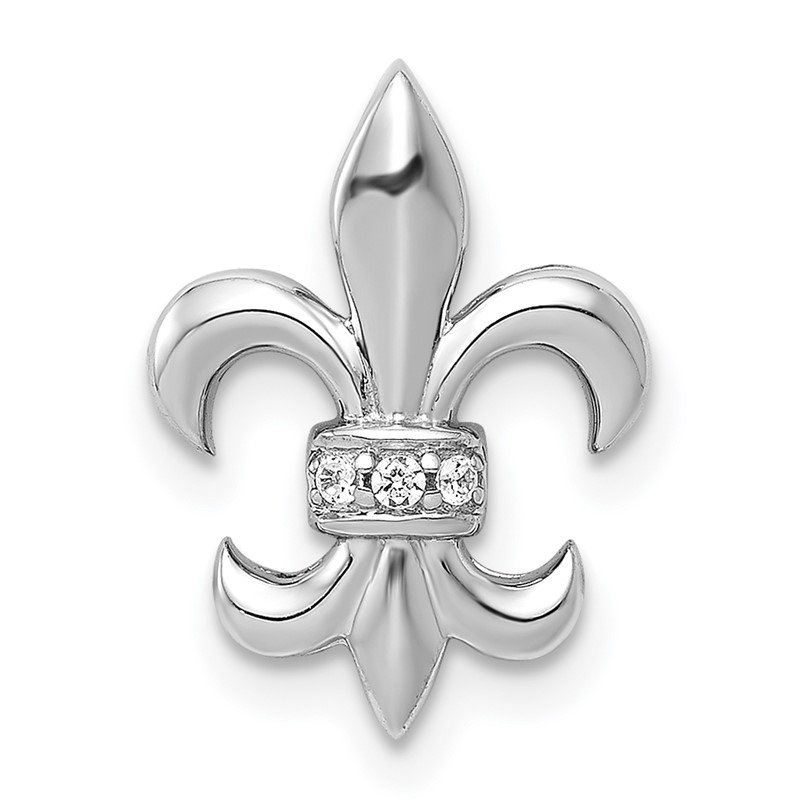 Quality Gold 14k White Gold .02ct. Diamond Fleur de Lis Chain Slide