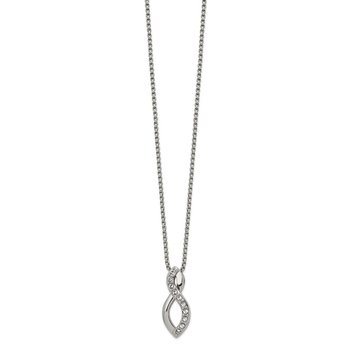 Stainless Steel Polished w/Crystals from Swarovski Infinity 16in Necklace