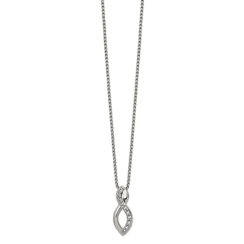 Chisel Stainless Steel Polished w/Crystals from Swarovski Infinity 16in Necklace