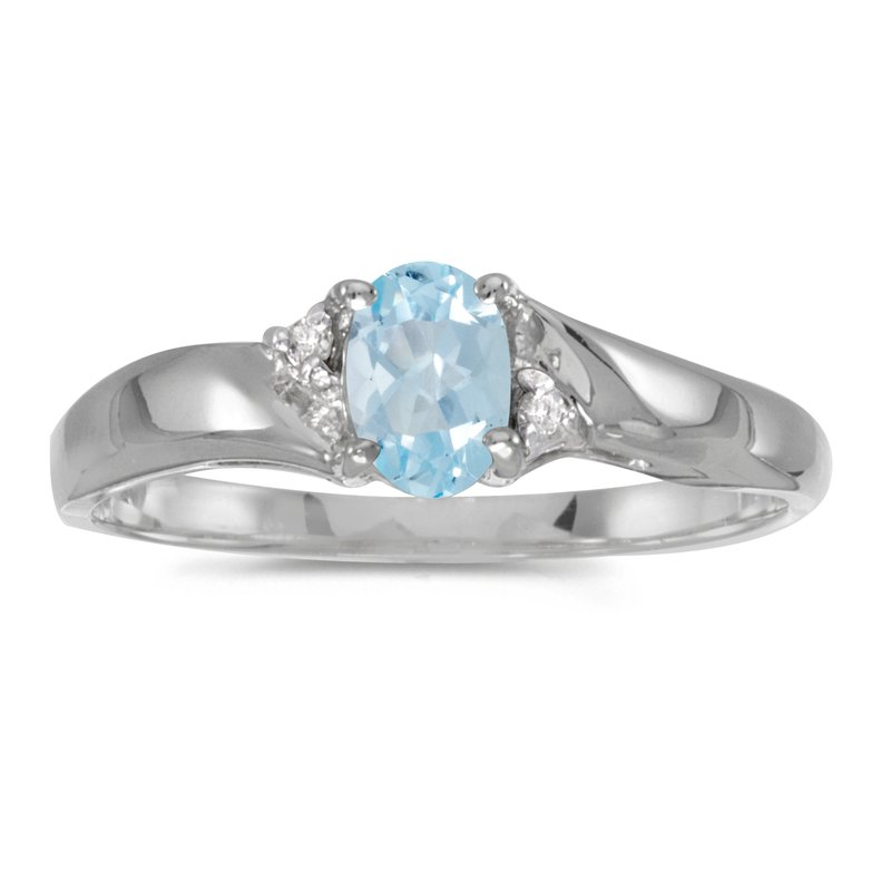 Color Merchants Sterling Silver Oval Aquamarine And Diamond Ring