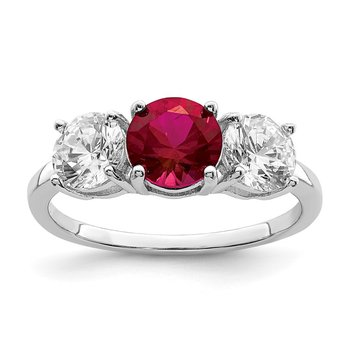 Sterling Silver Rhodium-plated Created Corundum & CZ 3 Stone Ring