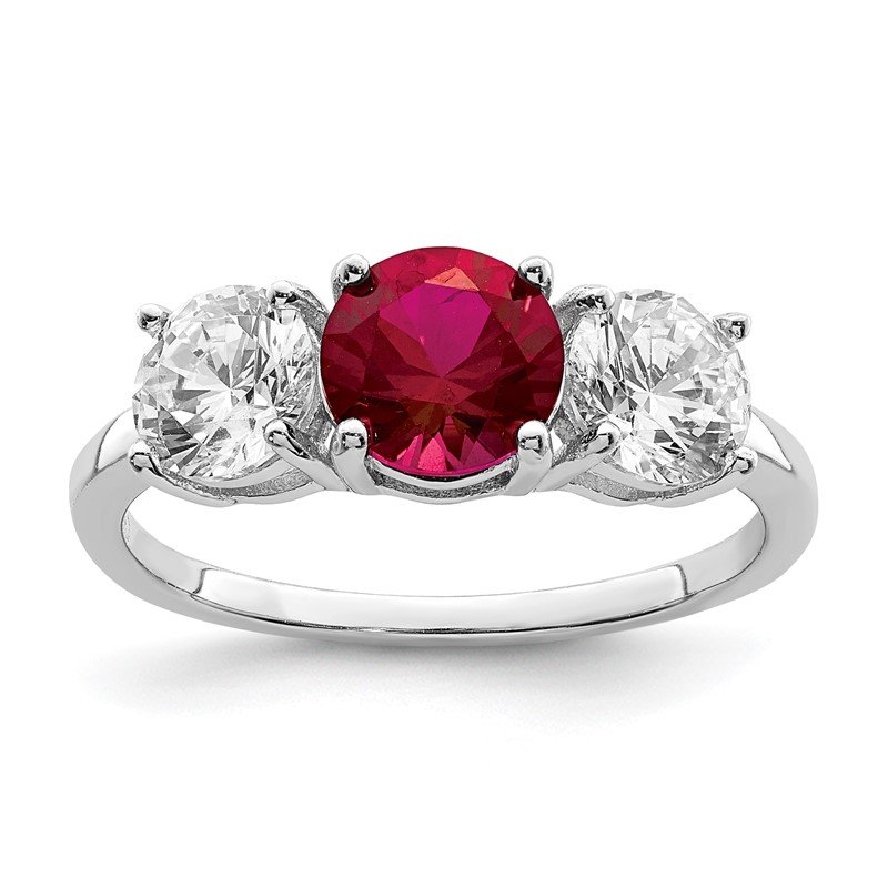 Quality Gold Sterling Silver Rhodium-plated Created Corundum & CZ 3 Stone Ring