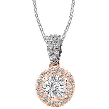 14kt Rose and White Gold Halo Diamond Pendant