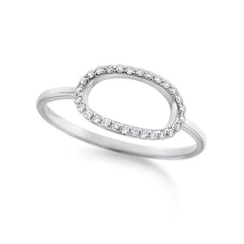Diamond Open Oval Ring in 14K White Gold with 28 Diamonds Weighing .09ct tw