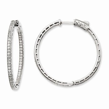 Sterling Silver Rhodium-plated CZ In and Out Hoop Earrings