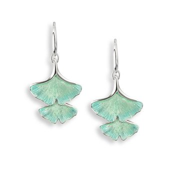 Turquoise Ginkgo 2-Leaf Wire Earrings.Sterling Silver