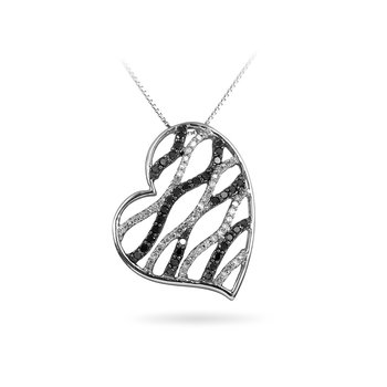 10K WG Black &  White Diamond Floating Heart Pend