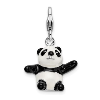 Sterling Silver 3-D Enameled Panda w/Lobster Clasp Charm