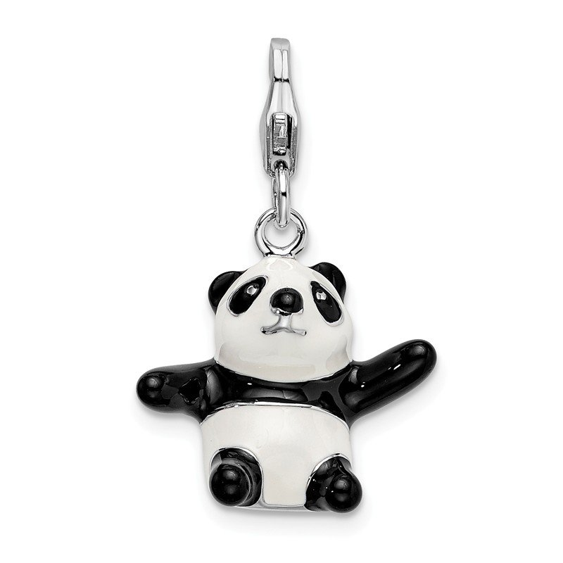 Quality Gold Sterling Silver 3-D Enameled Panda w/Lobster Clasp Charm