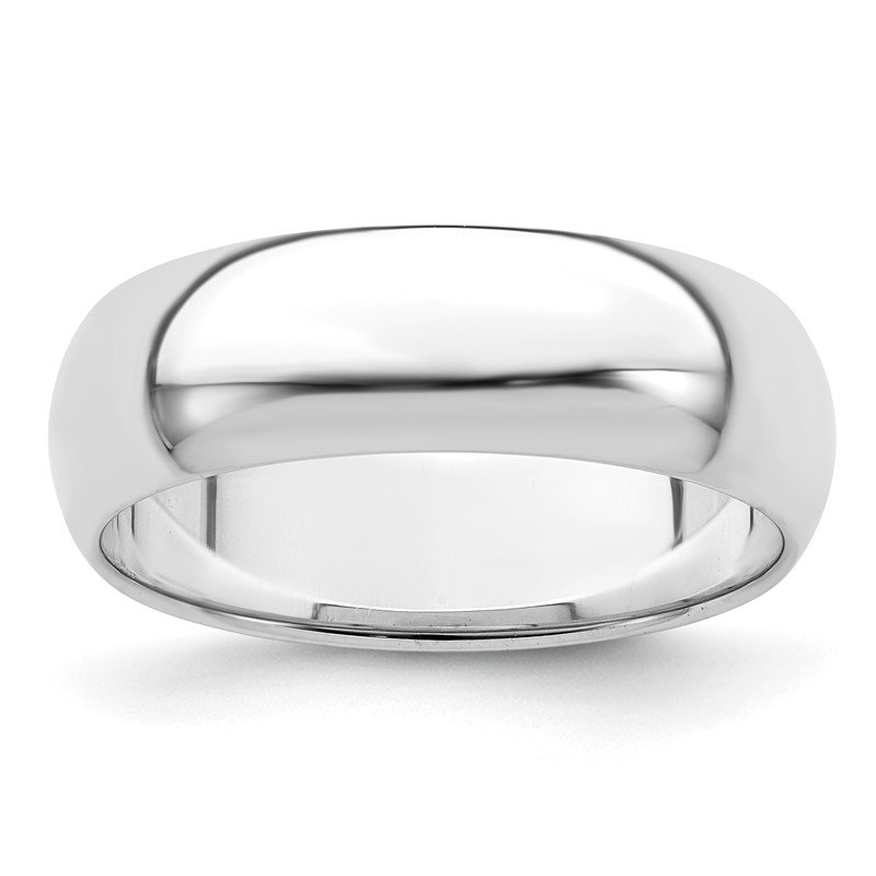Quality Gold Sterling Silver Rhodium-plated 6mm Half-Round Band