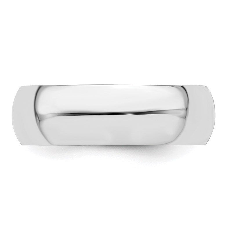Lester Martin Online Collection Sterling Silver Rhodium-plated 6mm Half-Round Band