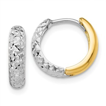 14k Two-tone Diamond-cut Hoop Earrings