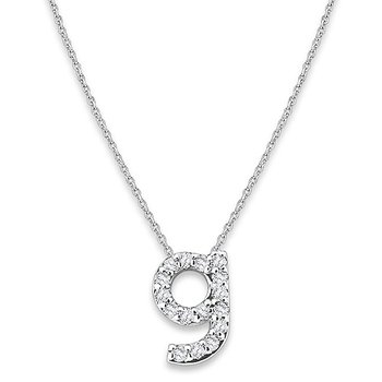 "Diamond Baby Typewriter Initial ""G"" Necklace in 14k White Gold with 16 Diamonds weighing .09ct tw."