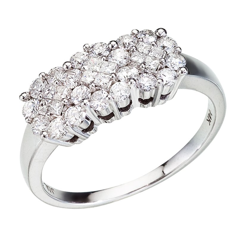 Color Merchants 14K White Gold Diamond Clustaire Ring