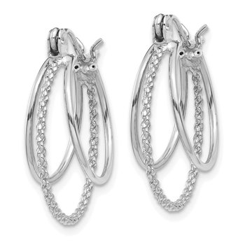 14k White Gold Polished and Textured Circle Hoop Earrings