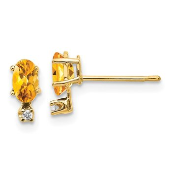 14k Diamond & Citrine Birthstone Earrings