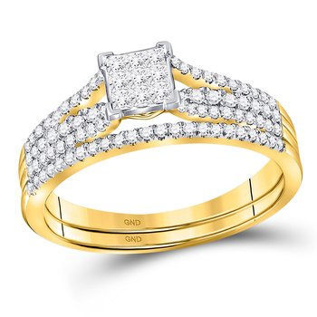14kt Yellow Gold Womens Princess Diamond Bridal Wedding Engagement Ring Band Set 1/2 Cttw