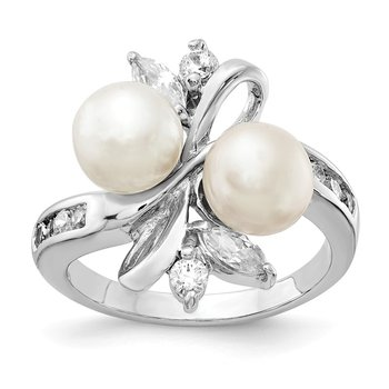 Cheryl M Sterling Silver Rhod Plated CZ & White FWC Pearl Leaves Ring