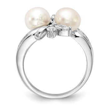 Cheryl M Sterling Silver CZ White FW Cultured Pearl Leaves Ring