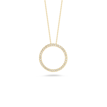 18Kt Gold Circle Pendant With Diamonds