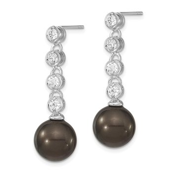 Sterling S Majestik Rh-pl 11-12mm Blk Imitat Shell Pearl CZ Post Dangle Ear