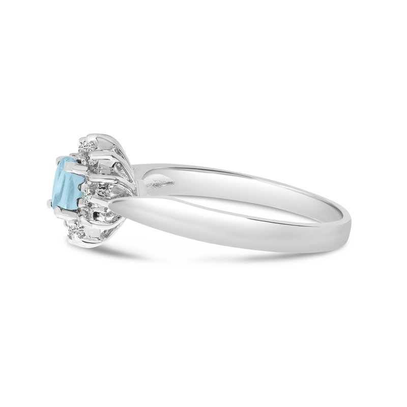 Color Merchants 14k White Gold Oval Aquamarine And Diamond Ring