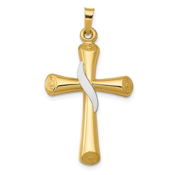 14K Two-Tone Hollow Cross w/Drape Pendant