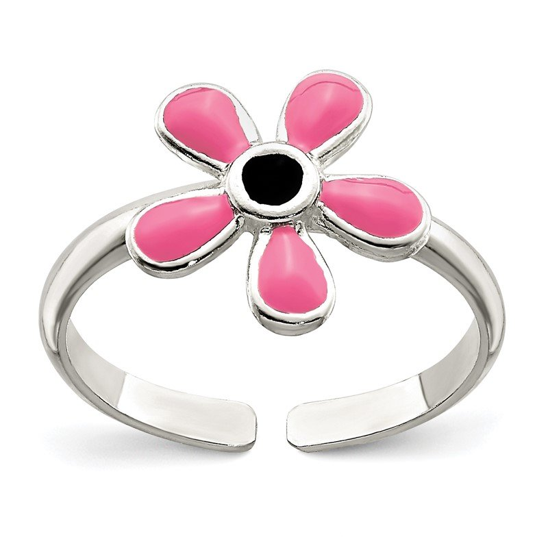 Lester Martin Online Collection Sterling Silver Pink Enameled Floral Toe Ring