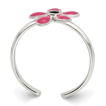 Sterling Silver Pink Enameled Floral Toe Ring
