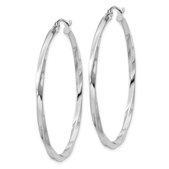 Sterling Silver Rhodium-plated Twisted 2.5x45mmHoop Earrings