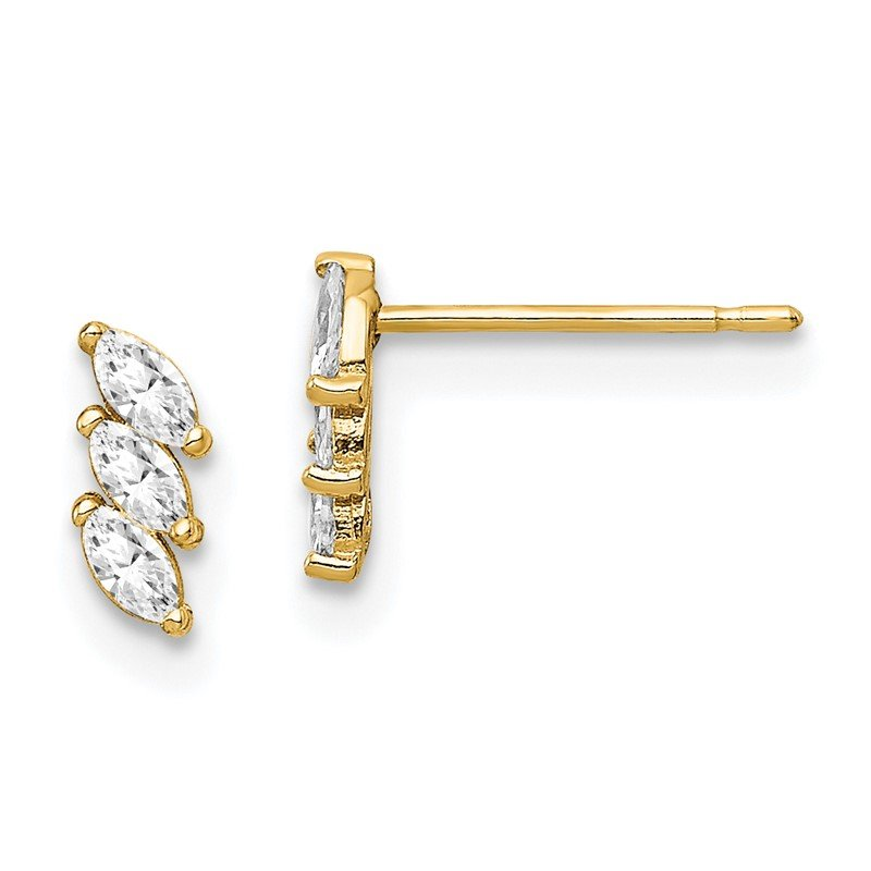 Quality Gold 14k Yellow Gold Madi K Fancy CZ Post Earrings