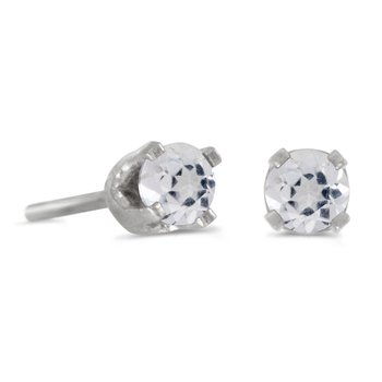 14k Petite White Gold 3 mm Round White Topaz Stud Earrings