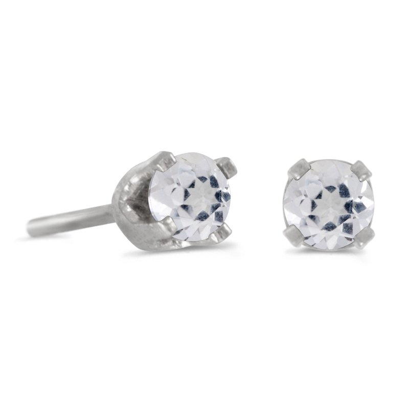 Color Merchants 14k Petite White Gold 3 mm Round White Topaz Stud Earrings