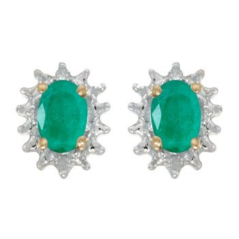 14k Yellow Gold Oval Emerald And Diamond Earrings