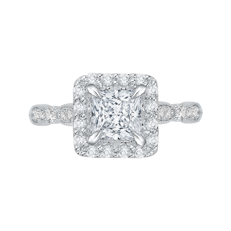 Carizza Princess Diamond Halo Vintage Engagement Ring In 14K White Gold (Semi-Mount)