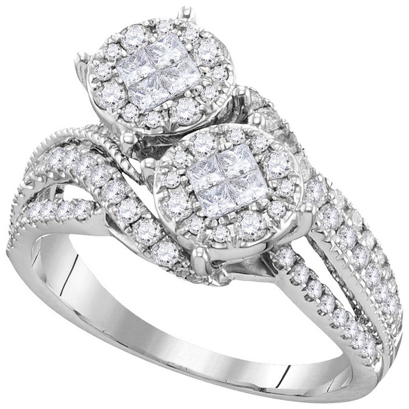 Gold-N-Diamonds, Inc. (Atlanta) 14kt White Gold Womens Princess Diamond Cluster Bridal Wedding Engagement Ring 1.00 Cttw