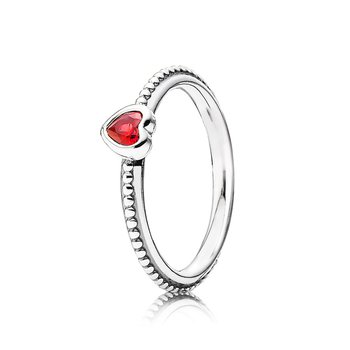 One Love Stackable Ring, Scarlet Synthetic Ruby