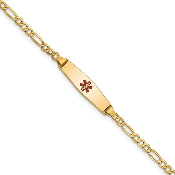 14k Medical Semi-Solid Soft Diamond Shape Red Enamel Figaro ID Bracelet
