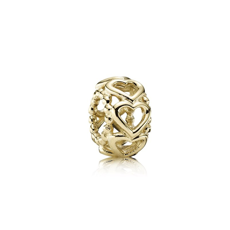 PANDORA Lucky In Love Heart Spacer, 14K Gold